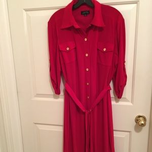 👗NWOT AUTHENTIC TAHARI BERRY SHIRT BELTED DRESS